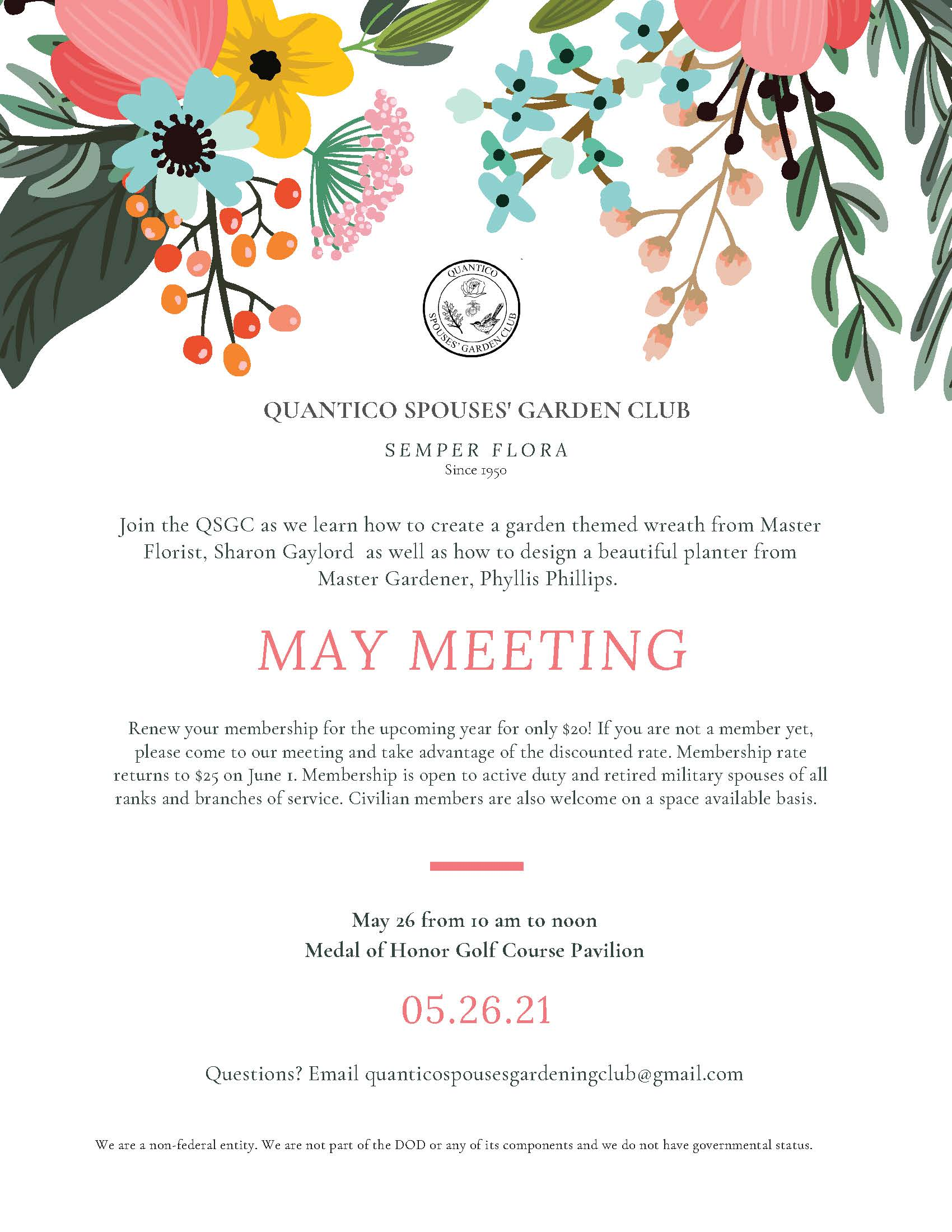 Quantico Spouse Garden Club May Meeting